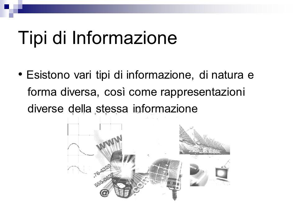 Tipi di Informazione Esistono vari tipi di informazione, di natura e forma diversa, così come rappresentazioni diverse della stessa informazione
