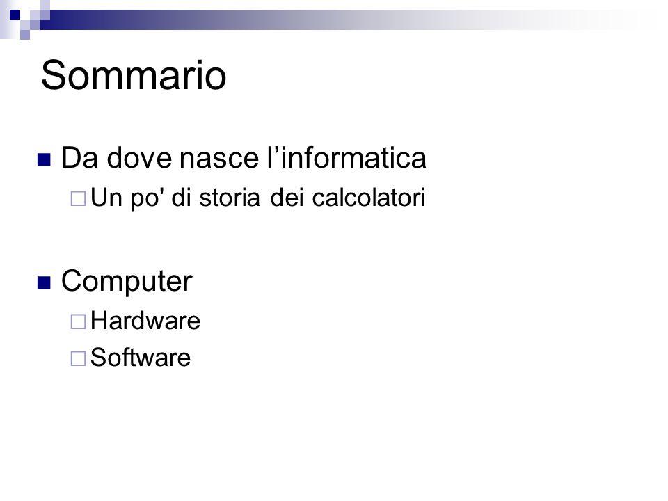 Sommario Da dove nasce linformatica Un po' di storia dei calcolatori Computer Hardware Software