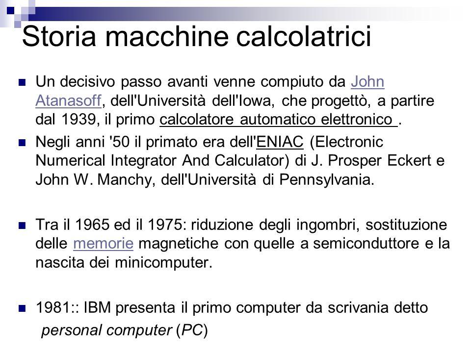 Storia macchine calcolatrici Un decisivo passo avanti venne compiuto da John Atanasoff, dell'Università dell'Iowa, che progettò, a partire dal 1939, i