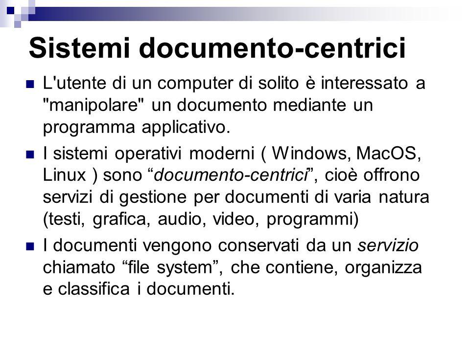 Sistemi documento-centrici L utente di un computer di solito è interessato a manipolare un documento mediante un programma applicativo.