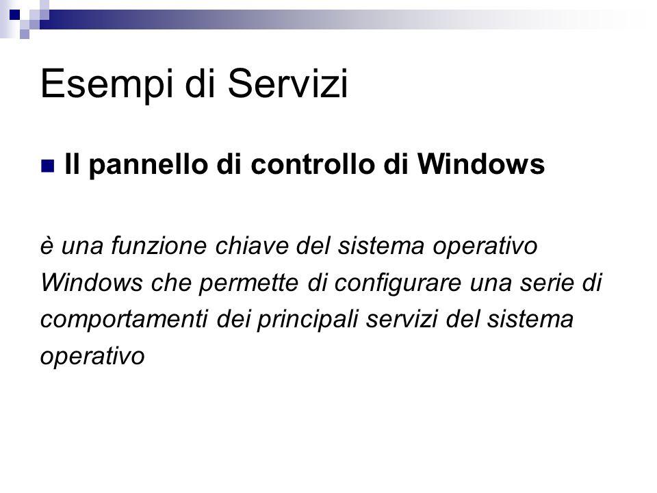 Esempi di Servizi Il pannello di controllo di Windows è una funzione chiave del sistema operativo Windows che permette di configurare una serie di comportamenti dei principali servizi del sistema operativo