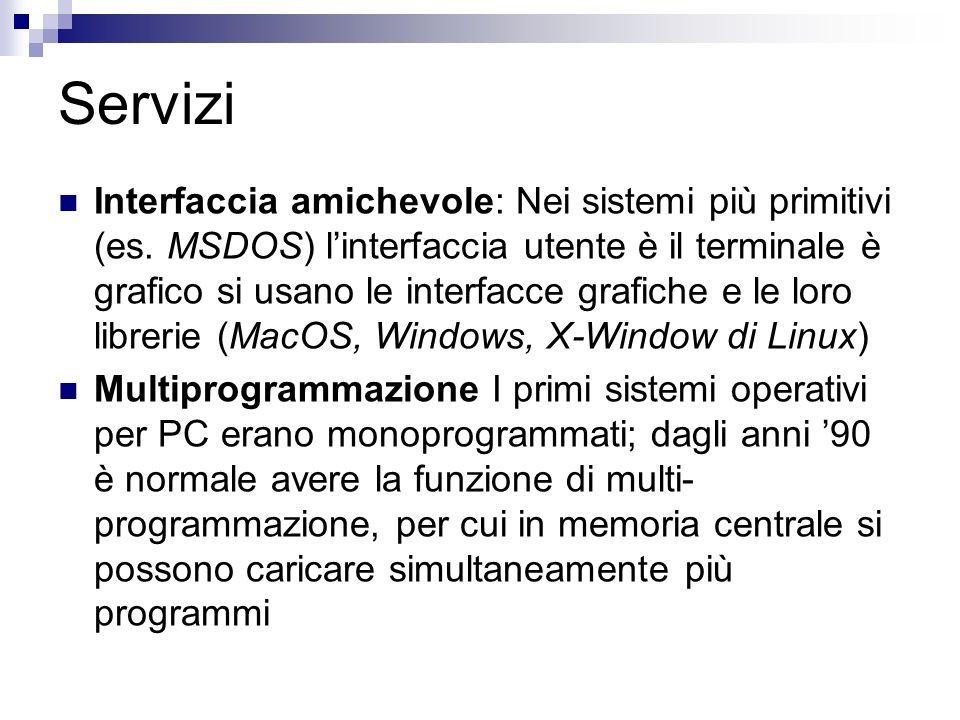 Servizi Interfaccia amichevole: Nei sistemi più primitivi (es.
