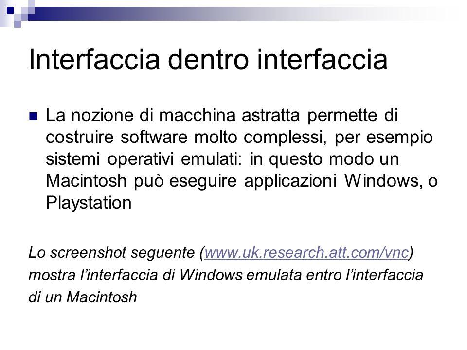 Interfaccia dentro interfaccia La nozione di macchina astratta permette di costruire software molto complessi, per esempio sistemi operativi emulati: in questo modo un Macintosh può eseguire applicazioni Windows, o Playstation Lo screenshot seguente (www.uk.research.att.com/vnc)www.uk.research.att.com/vnc mostra linterfaccia di Windows emulata entro linterfaccia di un Macintosh