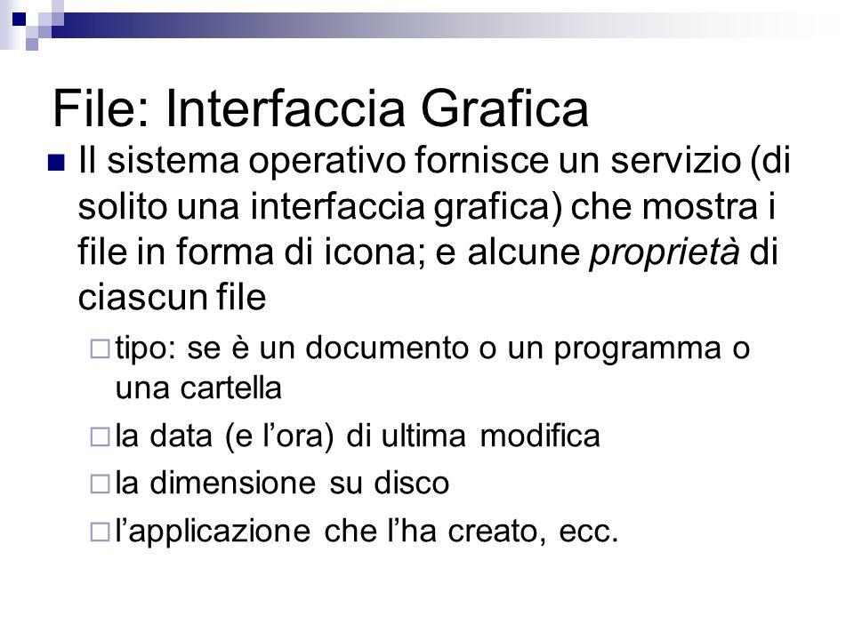 File: Interfaccia Grafica Il sistema operativo fornisce un servizio (di solito una interfaccia grafica) che mostra i file in forma di icona; e alcune proprietà di ciascun file tipo: se è un documento o un programma o una cartella la data (e lora) di ultima modifica la dimensione su disco lapplicazione che lha creato, ecc.