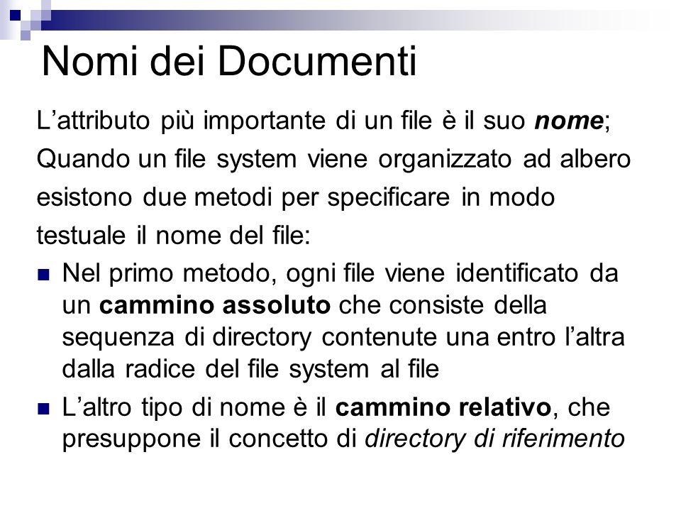 Nomi dei Documenti Lattributo più importante di un file è il suo nome; Quando un file system viene organizzato ad albero esistono due metodi per specificare in modo testuale il nome del file: Nel primo metodo, ogni file viene identificato da un cammino assoluto che consiste della sequenza di directory contenute una entro laltra dalla radice del file system al file Laltro tipo di nome è il cammino relativo, che presuppone il concetto di directory di riferimento