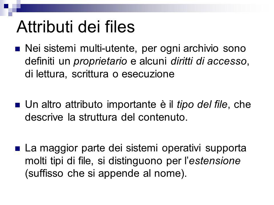 Attributi dei files Nei sistemi multi-utente, per ogni archivio sono definiti un proprietario e alcuni diritti di accesso, di lettura, scrittura o esecuzione Un altro attributo importante è il tipo del file, che descrive la struttura del contenuto.