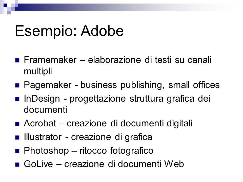 Esempio: Adobe Framemaker – elaborazione di testi su canali multipli Pagemaker - business publishing, small offices InDesign - progettazione struttura grafica dei documenti Acrobat – creazione di documenti digitali Illustrator - creazione di grafica Photoshop – ritocco fotografico GoLive – creazione di documenti Web