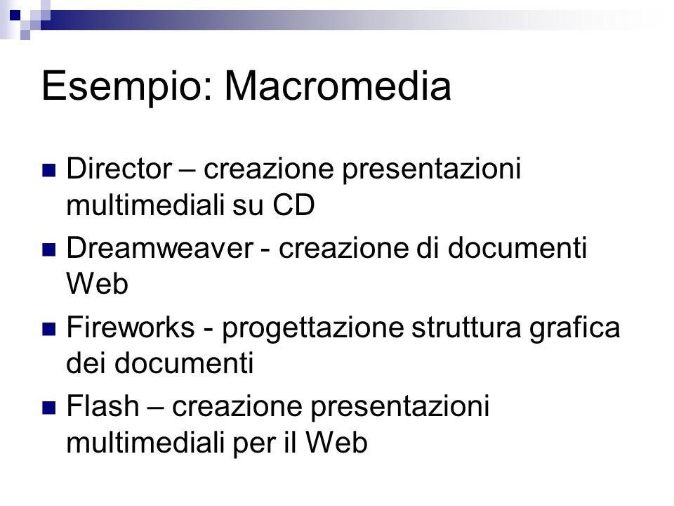 Esempio: Macromedia Director – creazione presentazioni multimediali su CD Dreamweaver - creazione di documenti Web Fireworks - progettazione struttura grafica dei documenti Flash – creazione presentazioni multimediali per il Web