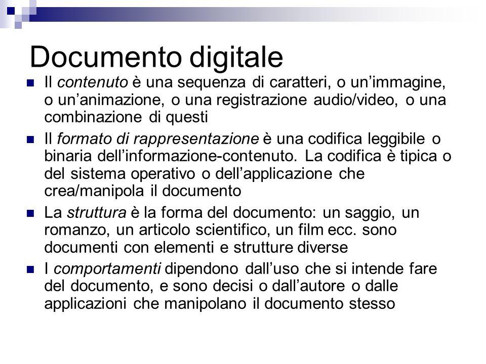 Documento digitale Il contenuto è una sequenza di caratteri, o unimmagine, o unanimazione, o una registrazione audio/video, o una combinazione di questi Il formato di rappresentazione è una codifica leggibile o binaria dellinformazione-contenuto.
