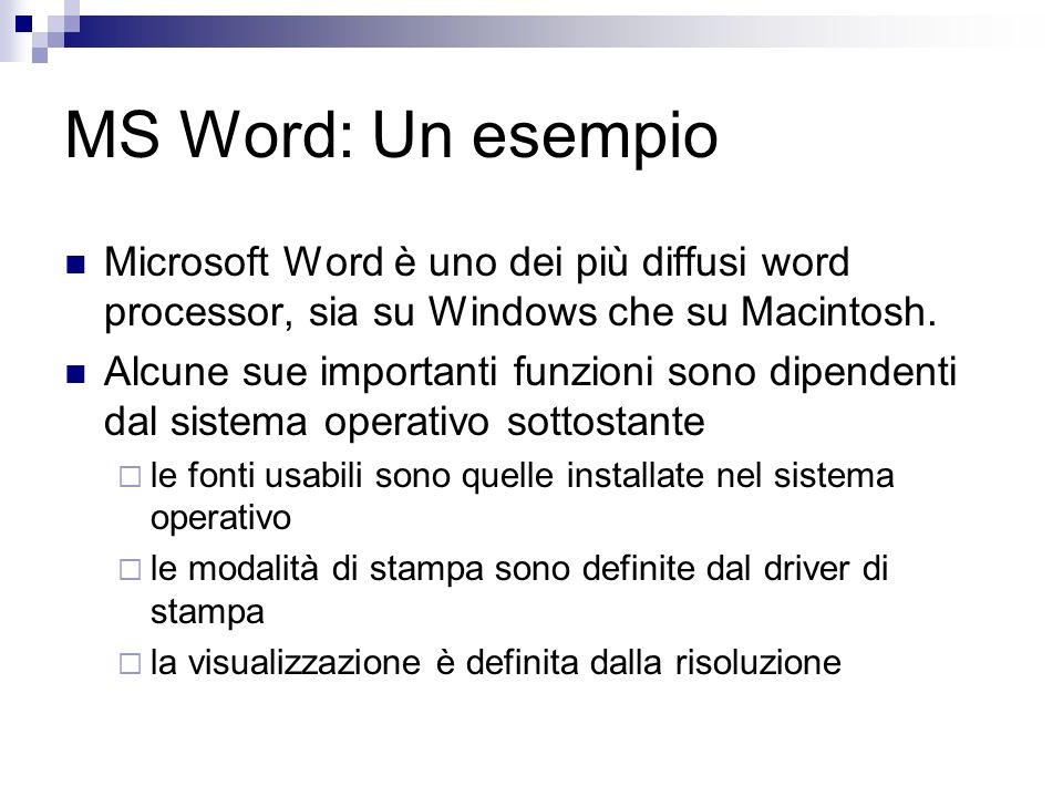 MS Word: Un esempio Microsoft Word è uno dei più diffusi word processor, sia su Windows che su Macintosh.