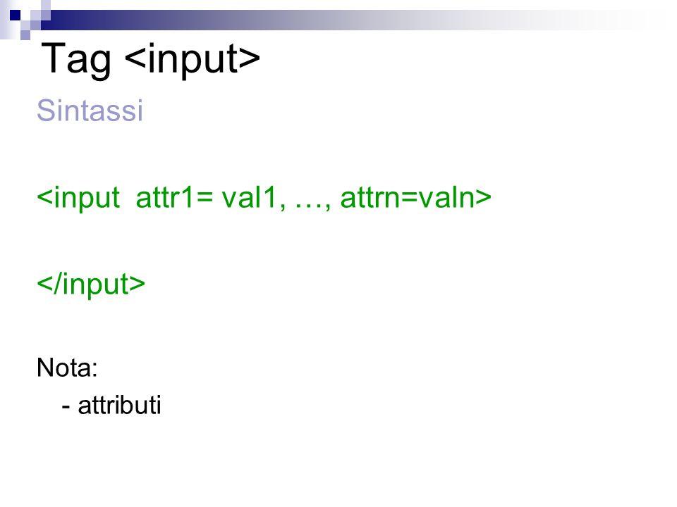 Tag Sintassi Nota: - attributi