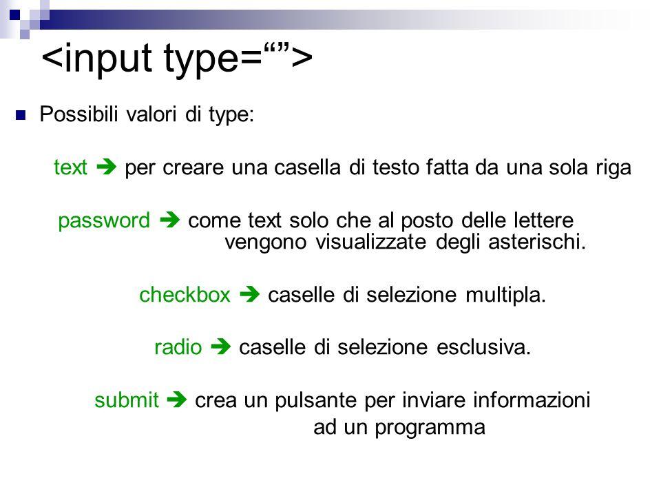 Possibili valori di type: text per creare una casella di testo fatta da una sola riga password come text solo che al posto delle lettere vengono visualizzate degli asterischi.