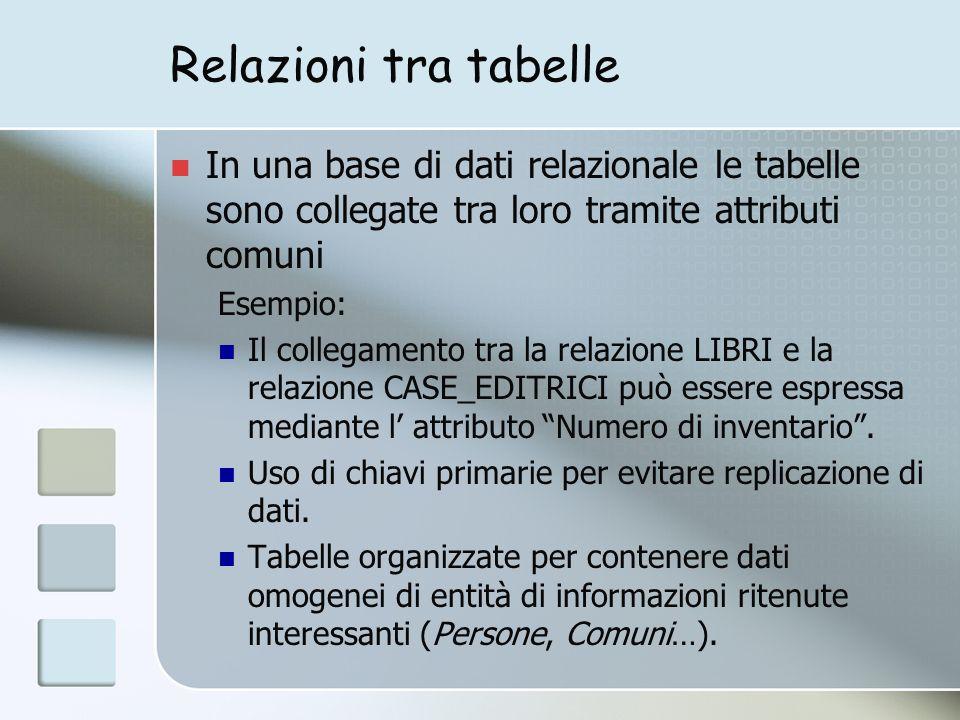 Relazioni tra tabelle In una base di dati relazionale le tabelle sono collegate tra loro tramite attributi comuni Esempio: Il collegamento tra la relazione LIBRI e la relazione CASE_EDITRICI può essere espressa mediante l attributo Numero di inventario.