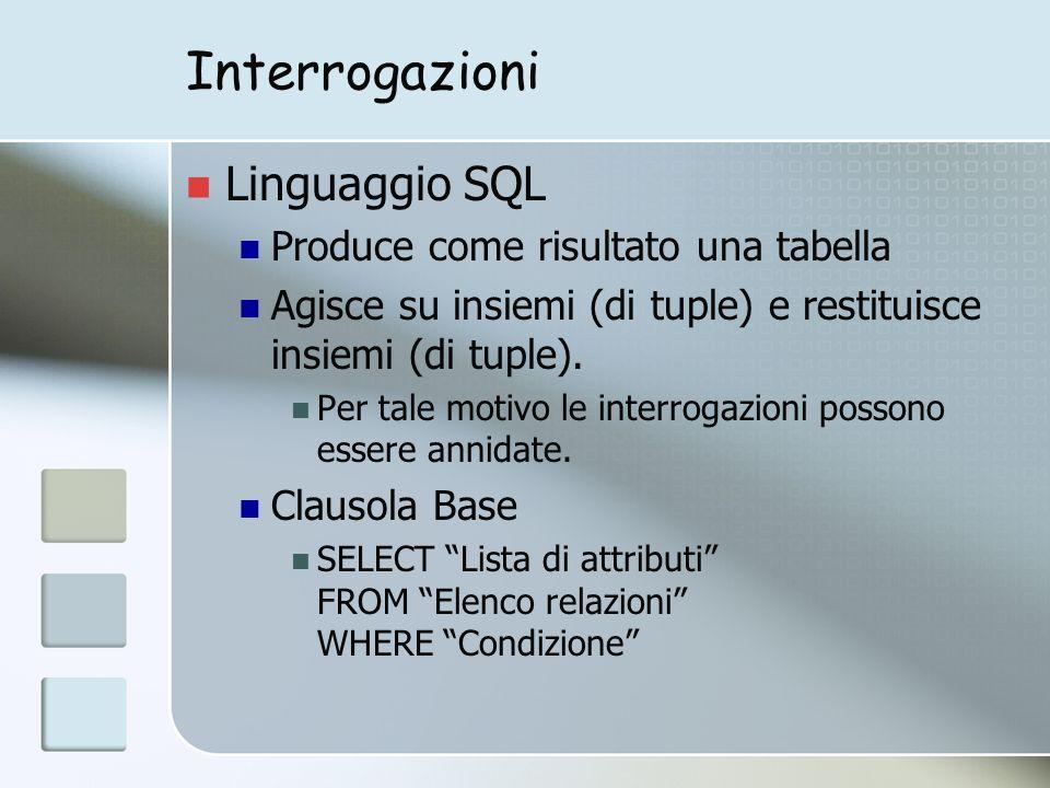 Interrogazioni Linguaggio SQL Produce come risultato una tabella Agisce su insiemi (di tuple) e restituisce insiemi (di tuple).