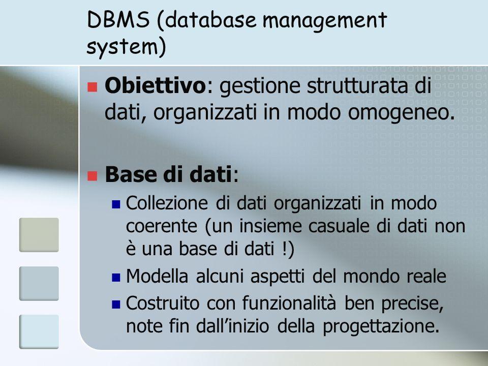Basi di dati: operazioni Definizione della base di dati quali informazioni (struttura) quali relazioni tra le informazioni Manipolazione inserimento di dati cancellazione di dati aggiornamento (update) interrogazione Protezione e sicurezza dei dati
