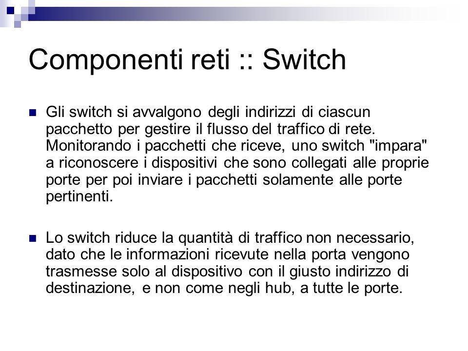 Componenti reti ::Switch Gli switch si avvalgono degli indirizzi di ciascun pacchetto per gestire il flusso del traffico di rete. Monitorando i pacche