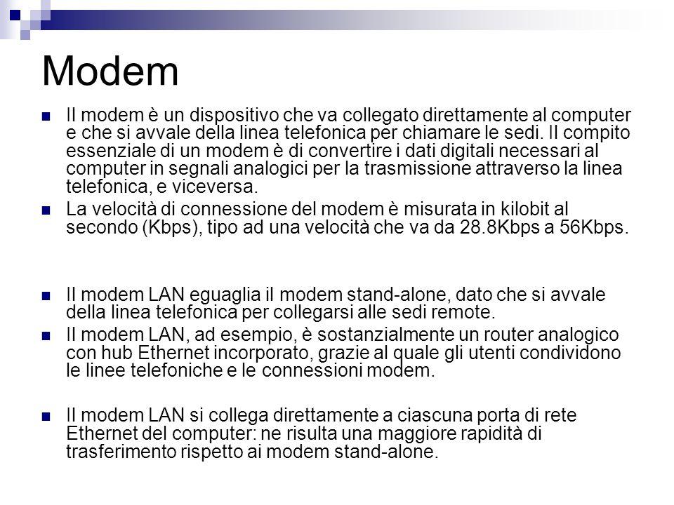 Modem Il modem è un dispositivo che va collegato direttamente al computer e che si avvale della linea telefonica per chiamare le sedi. Il compito esse
