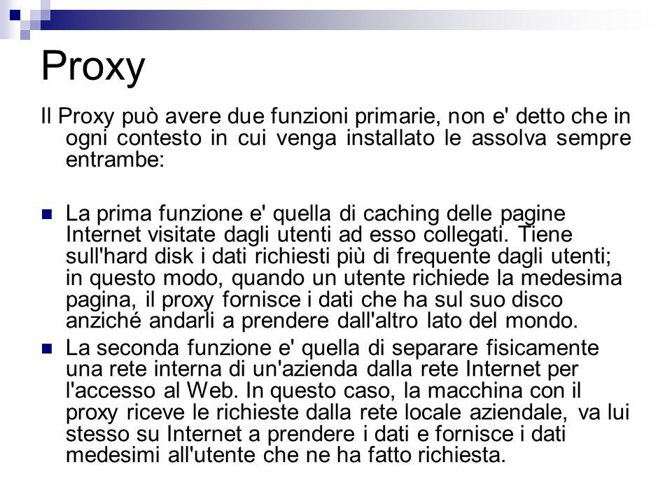 Proxy Il Proxy può avere due funzioni primarie, non e detto che in ogni contesto in cui venga installato le assolva sempre entrambe: La prima funzione e quella di caching delle pagine Internet visitate dagli utenti ad esso collegati.