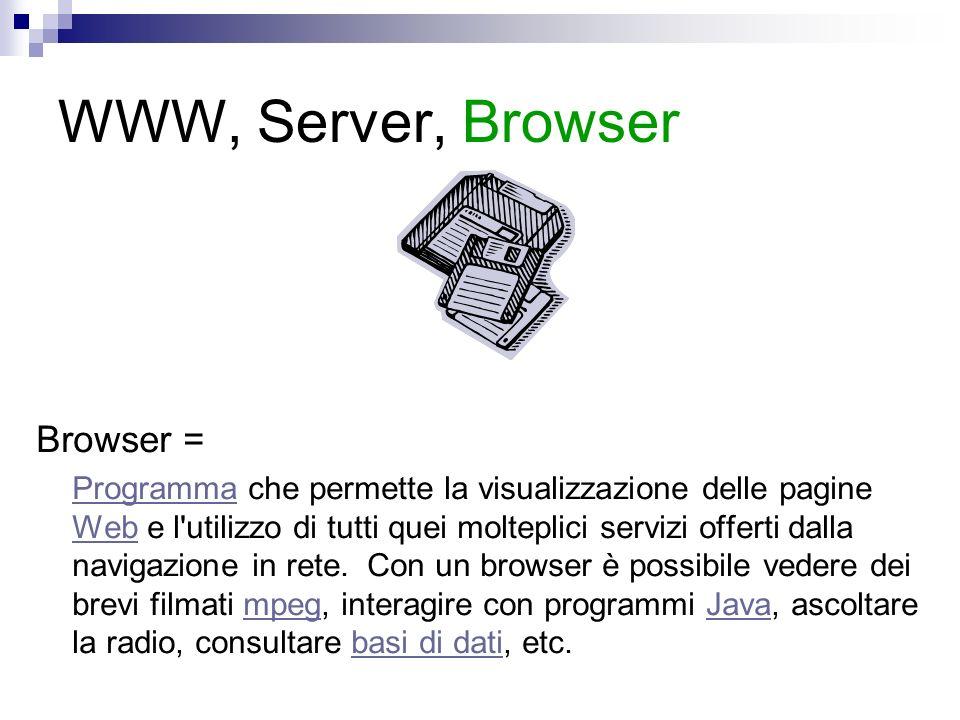 WWW, Server, Browser Browser = ProgrammaProgramma che permette la visualizzazione delle pagine Web e l utilizzo di tutti quei molteplici servizi offerti dalla navigazione in rete.