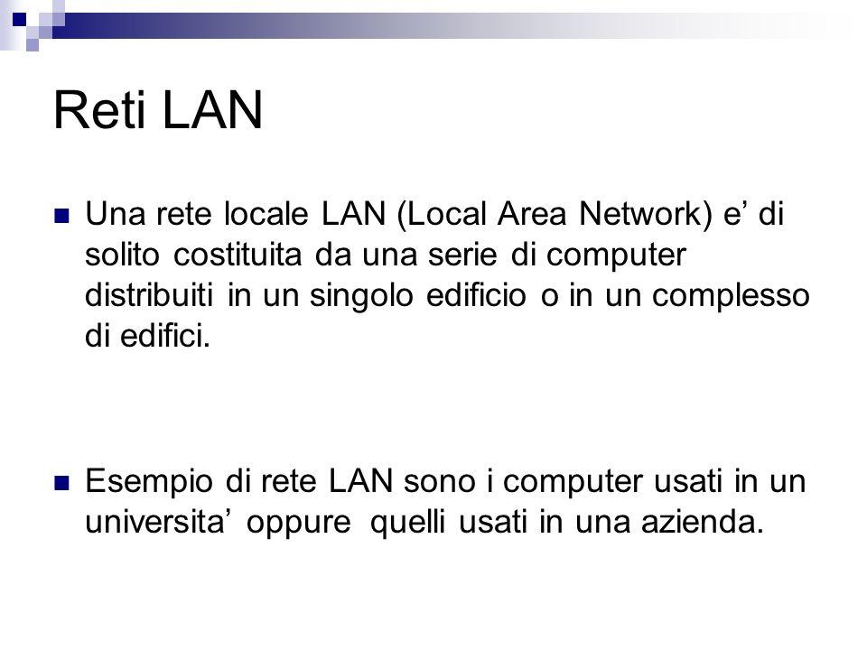 Reti LAN Una rete locale LAN (Local Area Network) e di solito costituita da una serie di computer distribuiti in un singolo edificio o in un complesso di edifici.