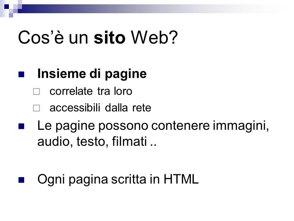 Cosè un sito Web? Insieme di pagine correlate tra loro accessibili dalla rete Le pagine possono contenere immagini, audio, testo, filmati.. Ogni pagin