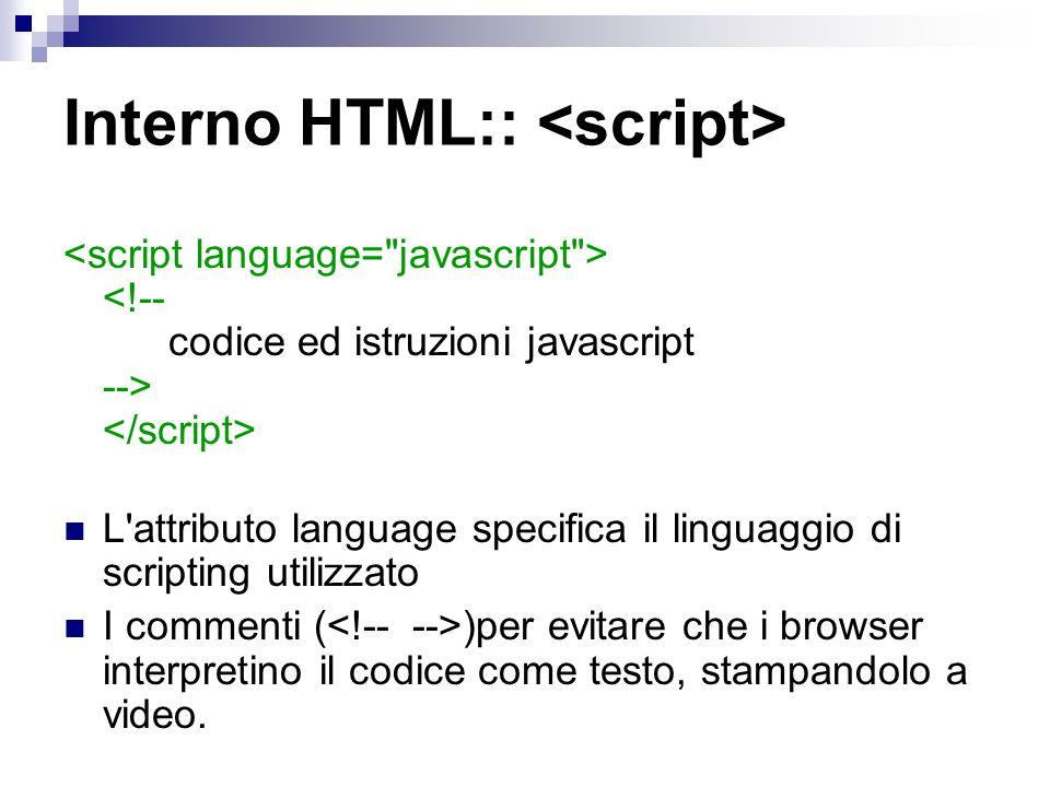 Interno HTML:: L'attributo language specifica il linguaggio di scripting utilizzato I commenti ( )per evitare che i browser interpretino il codice com