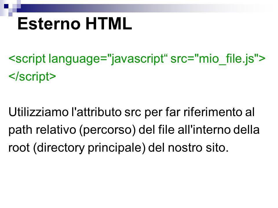 Esterno HTML Utilizziamo l'attributo src per far riferimento al path relativo (percorso) del file all'interno della root (directory principale) del no
