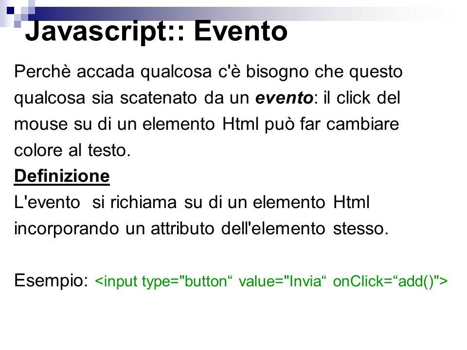 Eventi OggettoDefinizione onLoadCaricamento della pagina onUnloadUscita dalla pagina onClickClick col tasto sinistro del mouse su un tag html.