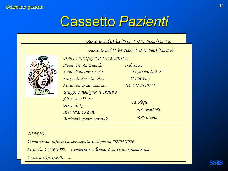 11 Cassetto Pazienti Paziente dal 01/08/1995 CSSN: 0603/3454567 DATI ANAGRAFICI E MEDICI: Nome: Maria Bianchi Indirizzo: Anno di nascita: 1950 Via Mar