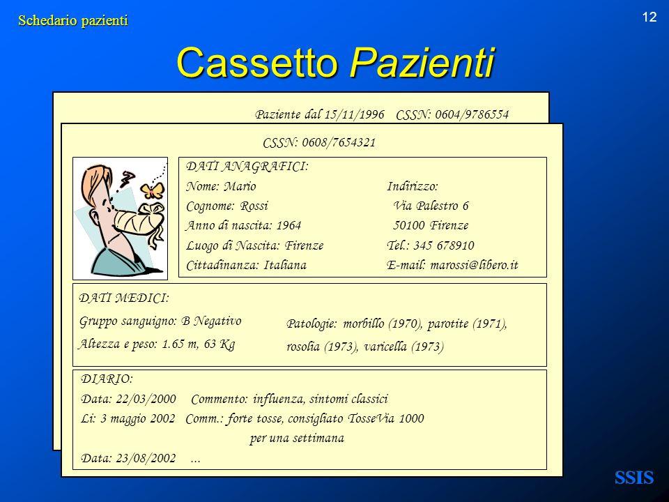 12 Paziente dal 15/11/1996 CSSN: 0604/9786554 Cassetto Pazienti DATI ANAGRAFICI: Nome: MarioIndirizzo: Cognome: Rossi Via Palestro 6 Anno di nascita: