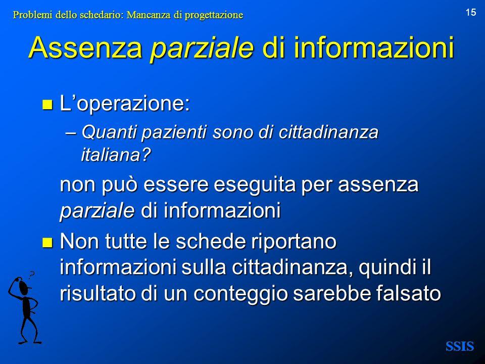 15 Assenza parziale di informazioni Loperazione: Loperazione: –Quanti pazienti sono di cittadinanza italiana? non può essere eseguita per assenza parz