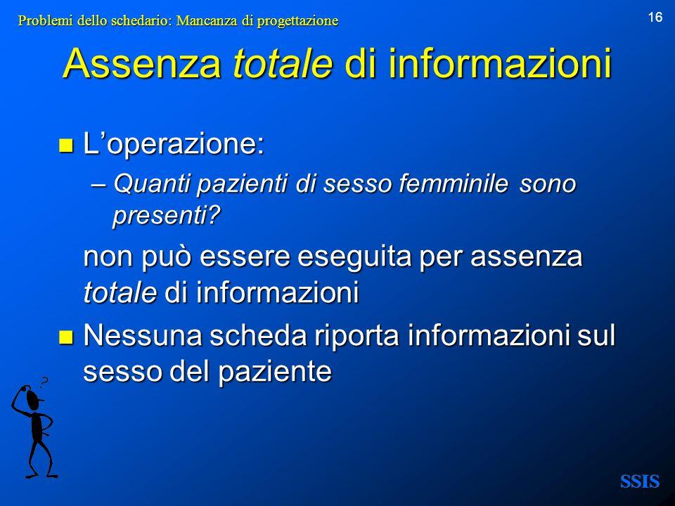 16 Assenza totale di informazioni Loperazione: Loperazione: –Quanti pazienti di sesso femminile sono presenti? non può essere eseguita per assenza tot