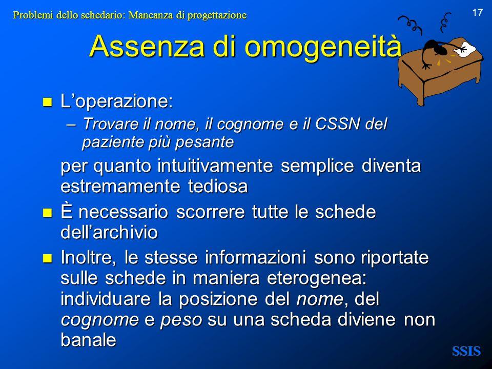 17 Assenza di omogeneità Loperazione: Loperazione: –Trovare il nome, il cognome e il CSSN del paziente più pesante per quanto intuitivamente semplice