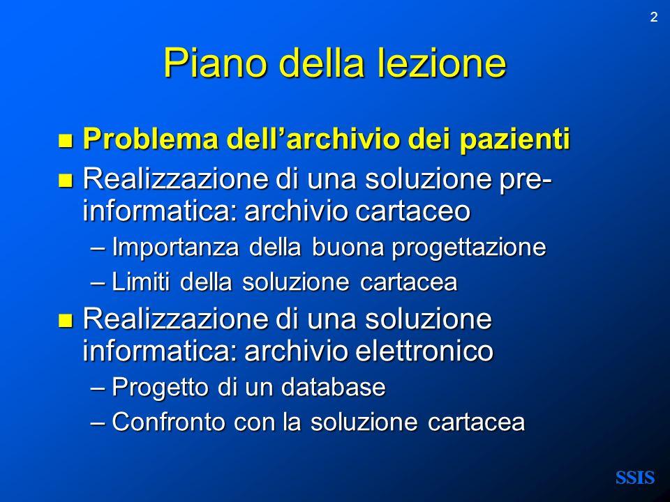 2 Piano della lezione Problema dellarchivio dei pazienti Problema dellarchivio dei pazienti Realizzazione di una soluzione pre- informatica: archivio