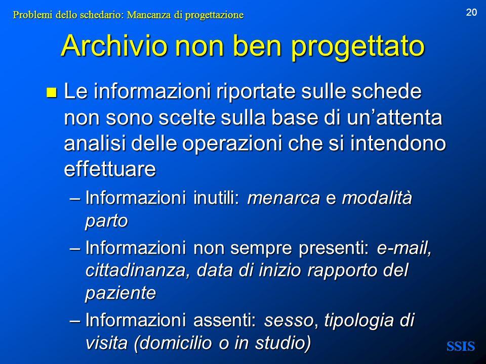 20 Archivio non ben progettato Le informazioni riportate sulle schede non sono scelte sulla base di unattenta analisi delle operazioni che si intendon
