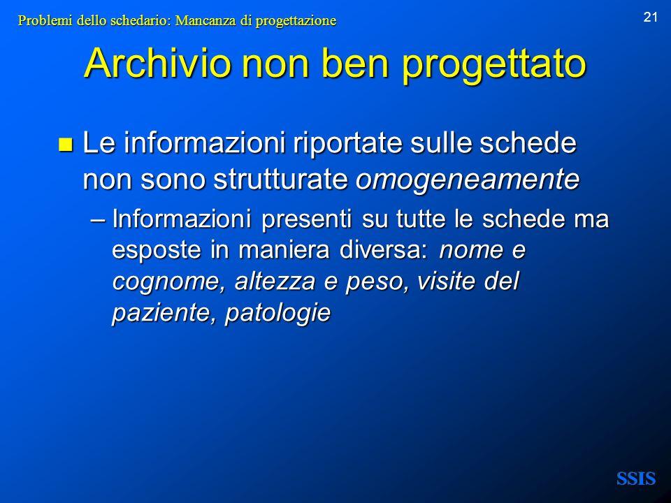 21 Le informazioni riportate sulle schede non sono strutturate omogeneamente Le informazioni riportate sulle schede non sono strutturate omogeneamente