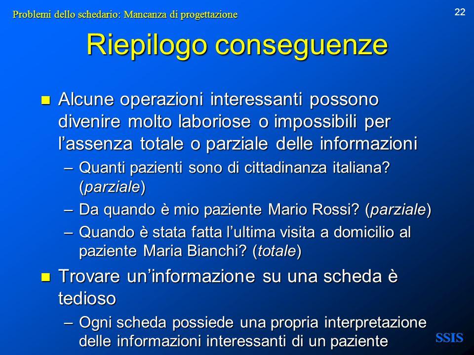 22 Riepilogo conseguenze Alcune operazioni interessanti possono divenire molto laboriose o impossibili per lassenza totale o parziale delle informazio