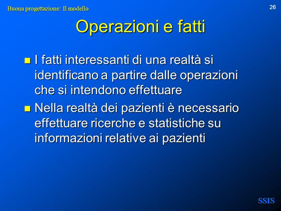 26 Operazioni e fatti I fatti interessanti di una realtà si identificano a partire dalle operazioni che si intendono effettuare I fatti interessanti d