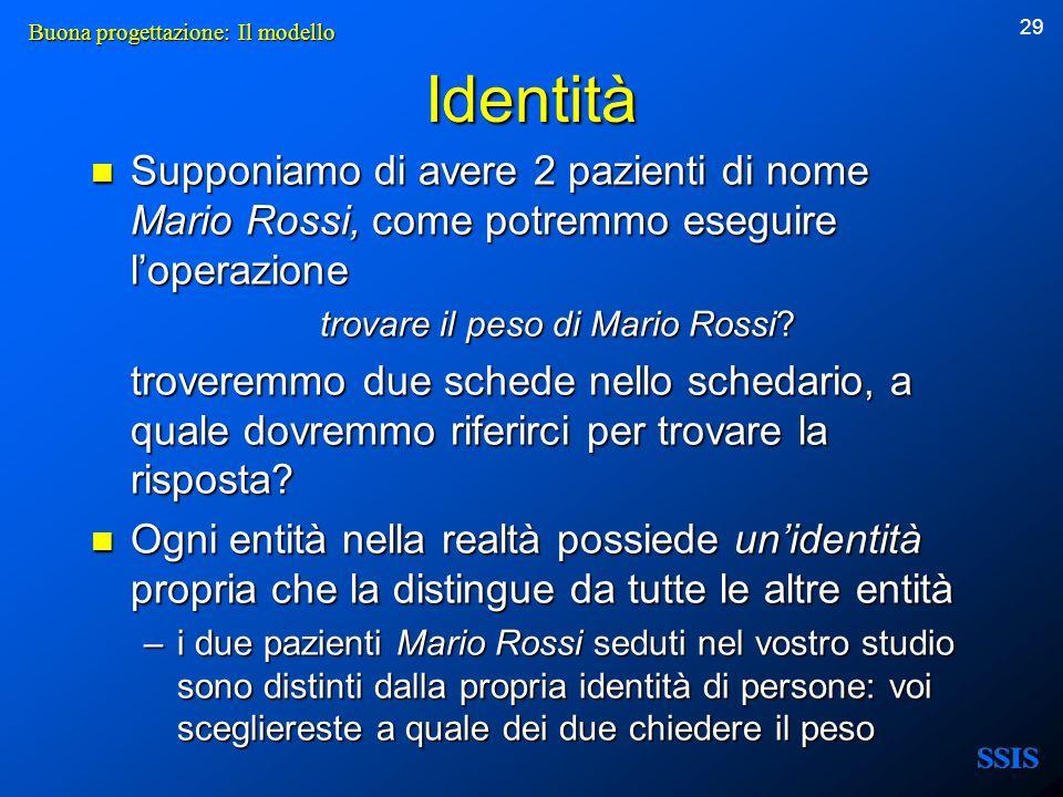 29 Identità Supponiamo di avere 2 pazienti di nome Mario Rossi, come potremmo eseguire loperazione Supponiamo di avere 2 pazienti di nome Mario Rossi,