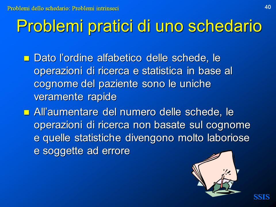 40 Problemi pratici di uno schedario Dato lordine alfabetico delle schede, le operazioni di ricerca e statistica in base al cognome del paziente sono