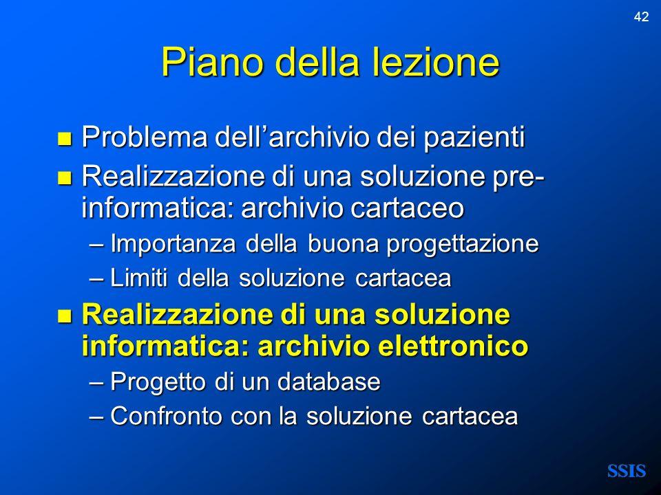 42 Piano della lezione Problema dellarchivio dei pazienti Problema dellarchivio dei pazienti Realizzazione di una soluzione pre- informatica: archivio