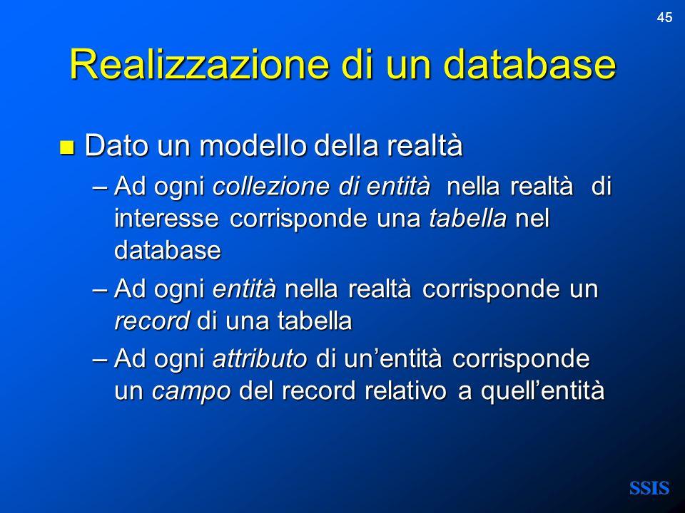 45 Realizzazione di un database Dato un modello della realtà Dato un modello della realtà –Ad ogni collezione di entità nella realtà di interesse corr