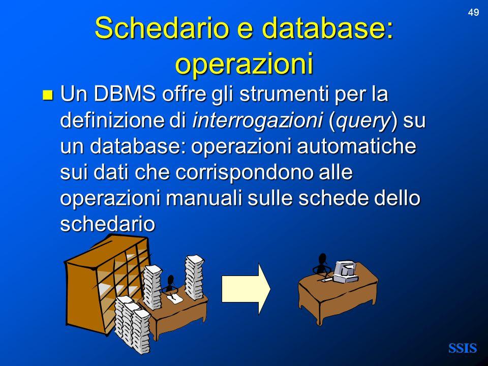 49 Schedario e database: operazioni Un DBMS offre gli strumenti per la definizione di interrogazioni (query) su un database: operazioni automatiche su