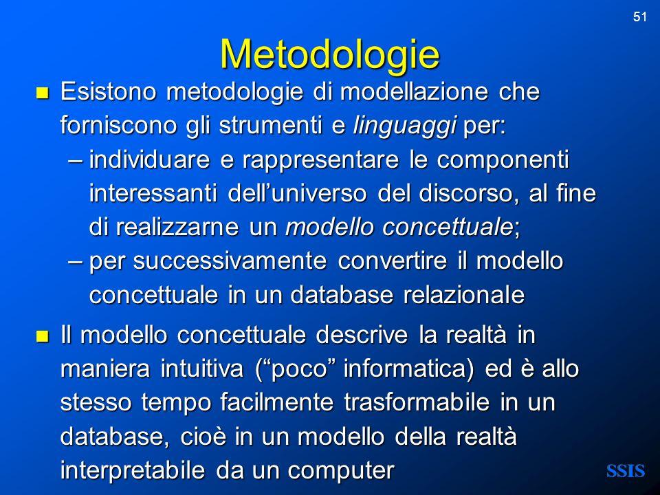 51 Metodologie Esistono metodologie di modellazione che forniscono gli strumenti e linguaggi per: Esistono metodologie di modellazione che forniscono