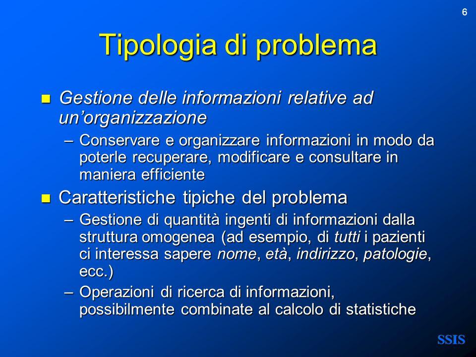 6 Tipologia di problema Gestione delle informazioni relative ad unorganizzazione Gestione delle informazioni relative ad unorganizzazione –Conservare