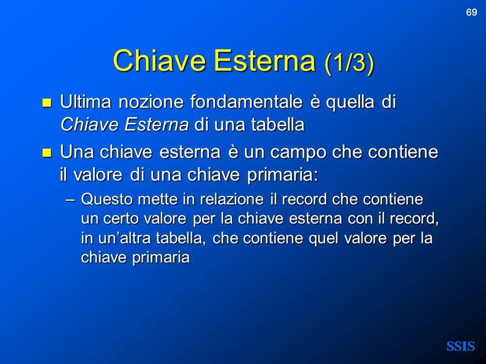69 Chiave Esterna (1/3) Ultima nozione fondamentale è quella di Chiave Esterna di una tabella Ultima nozione fondamentale è quella di Chiave Esterna d