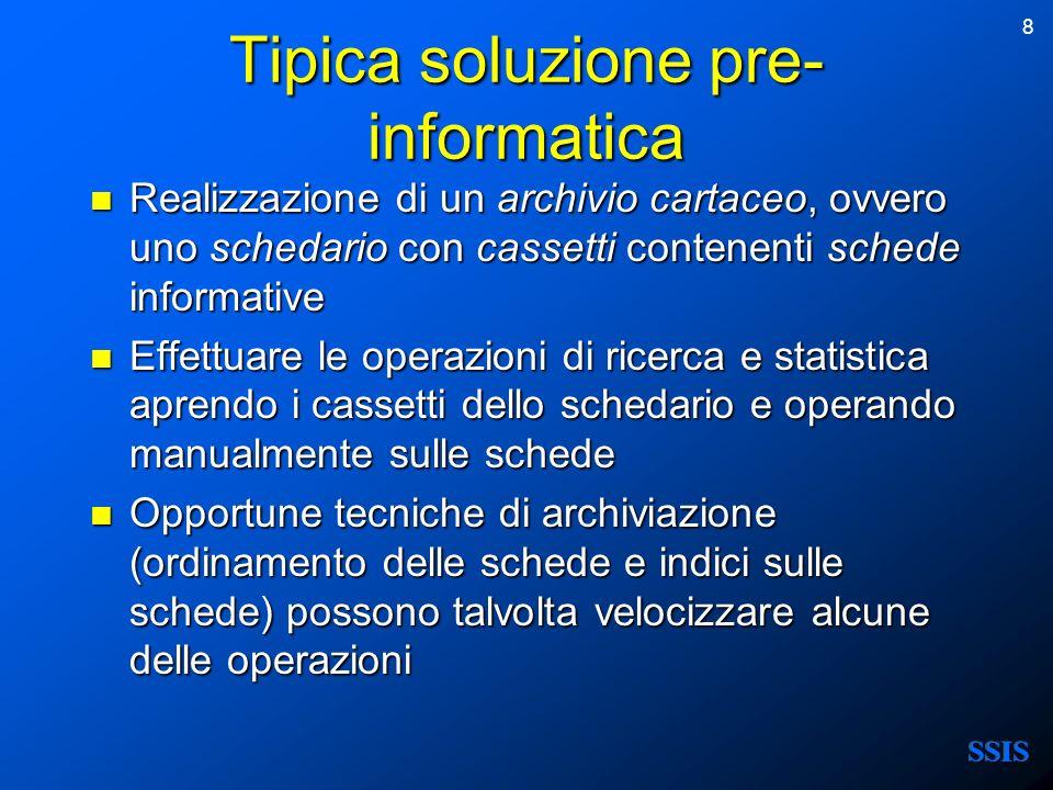 8 Tipica soluzione pre- informatica Realizzazione di un archivio cartaceo, ovvero uno schedario con cassetti contenenti schede informative Realizzazio