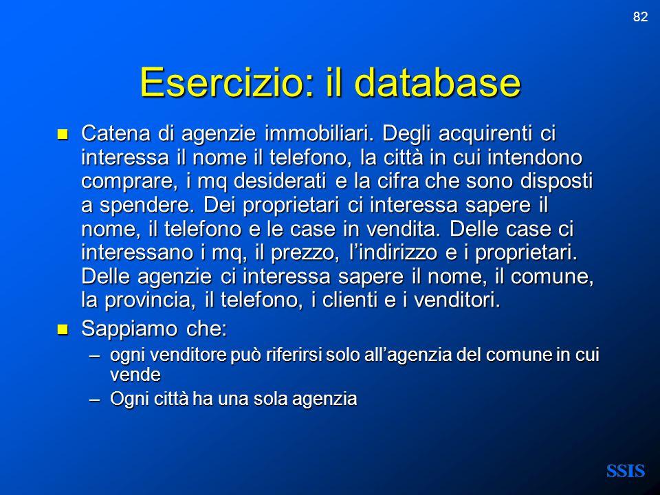 82 Esercizio: il database Catena di agenzie immobiliari. Degli acquirenti ci interessa il nome il telefono, la città in cui intendono comprare, i mq d