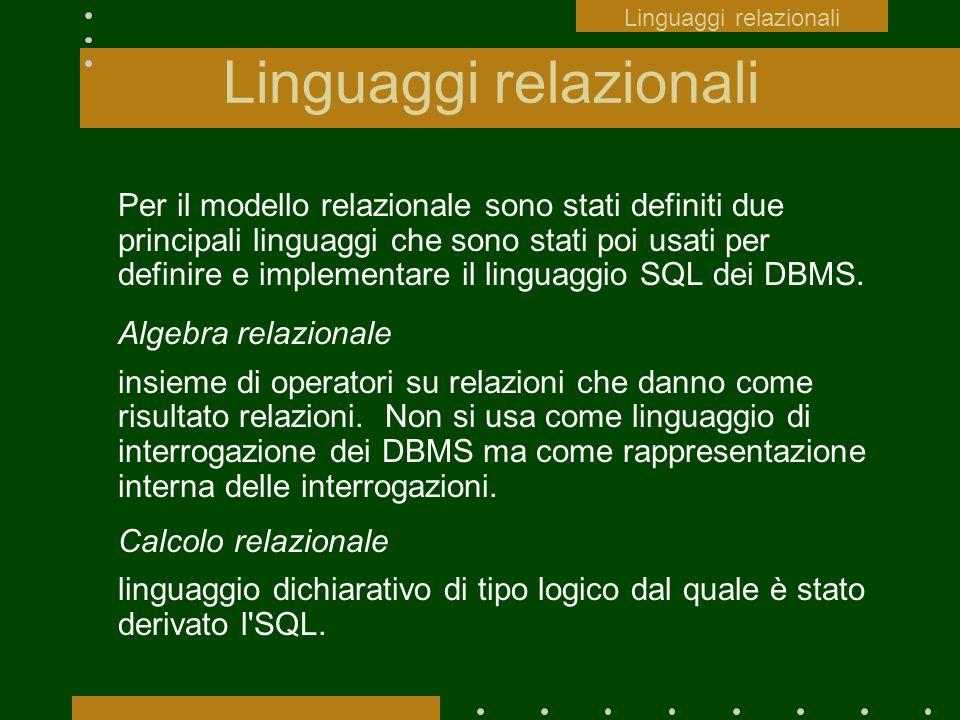 Linguaggi relazionali Per il modello relazionale sono stati definiti due principali linguaggi che sono stati poi usati per definire e implementare il