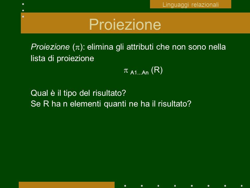 Proiezione Proiezione ( ): elimina gli attributi che non sono nella lista di proiezione A1...An (R) Qual è il tipo del risultato? Se R ha n elementi q